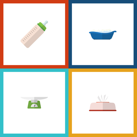 Flat Icon Infant Set Of Bathtub, Feeder, Tissue And Other Vector Objects. Also Includes Napkin, Scales, Box Elements.