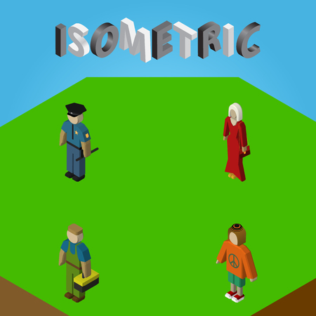 Isometric Person Set Of Plumber, Lady, Female And Other Vector Objects. Also Includes Worker, Hippie, Policeman Elements.