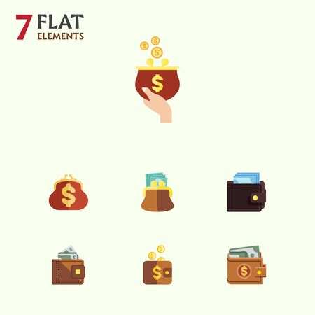 billfold: Flat Icon Purse Set Of Billfold, Finance, Payment And Other Vector Objects. Also Includes Currency, Billfold, Cash Elements.