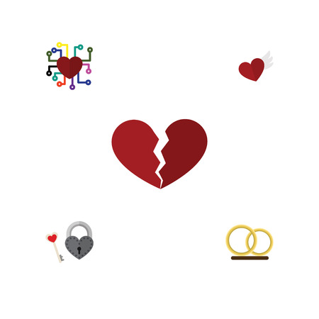 Flat Icon Heart Set Of Wings, Emotion, Ring And Other Vector Objects. Also Includes Key, Ring, Broken Elements.