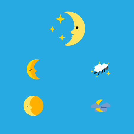 Flat Icon Midnight Set Of Midnight, Lunar, Moon And Other Vector Objects. Also Includes Midnight, Crescent, Nighttime Elements. Illustration