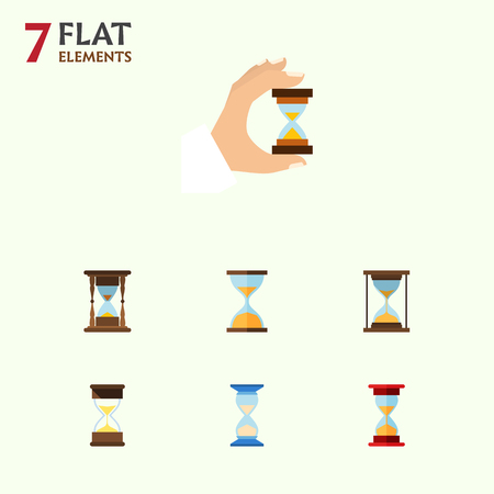 Icona piana Timer Set di sabbia Timer, Sandglass, Clock Vector Objects. Include anche clessidra, sabbia, elementi Sandglass. Archivio Fotografico - 88003606