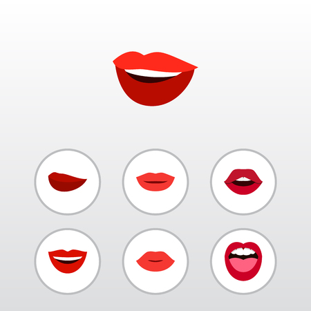 Flat Icon Mouth Set Of Tongue, Lipstick, Laugh And Other Vector Objects. Also Includes Lips, Mouth, Teeth Elements.