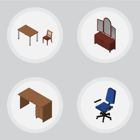 Isometric Furnishing Set Of Drawer, Table, Office And Other Vector Objects. Also Includes Drawer, Chair, Office Elements. Illustration