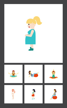 Flat Icon Pregnant Set Of Mother, Pregnant Woman, Fitness And Other Vector Objects. Also Includes Woman, Pregnant, Sport Elements.