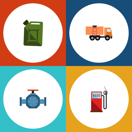 Flat Icon Fuel Set Of Fuel Canister, Flange, Van And Other Vector Objects. Also Includes Pipe, Fuel, Gas Elements.
