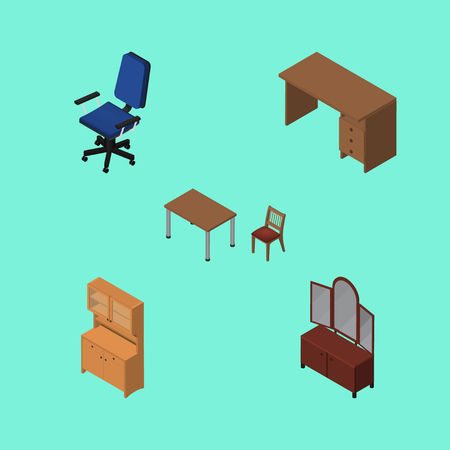 Isometric Furnishing Set Of Chair, Table, Cupboard And Other Vector Objects. Also Includes Furniture, Desk, Chair Elements.