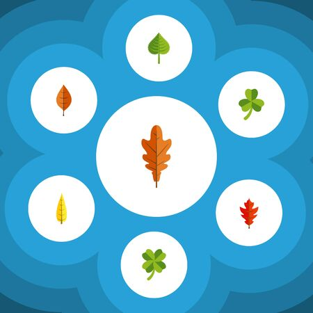 Flat Icon Foliage Set Of Foliage, Hickory, Leaf And Other Vector Objects. Also Includes Foliage, Leaf, Leafage Elements.