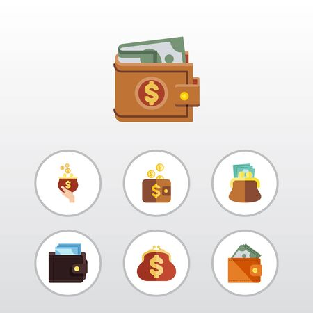 Flat Icon Billfold Set Of Pouch, Money, Payment And Other Vector Objects. Also Includes Saving, Currency, Purse Elements. Illustration