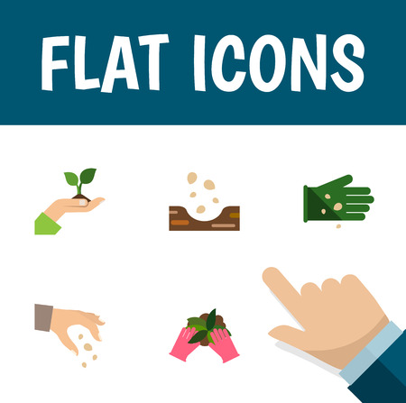 Flat Icon Seed Set Of Glove, Plant, Seed And Other Vector Objects. Also Includes Hand, Plant, Sow Elements.
