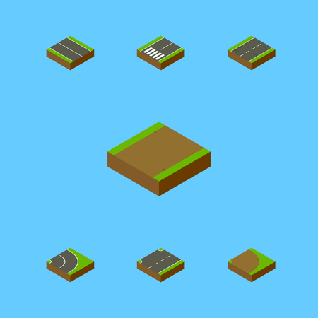 Isometric Way Set Of Footpath, Flat, Upwards And Other Vector Objects. Also Includes Footpassenger, Plane, Footpath Elements.