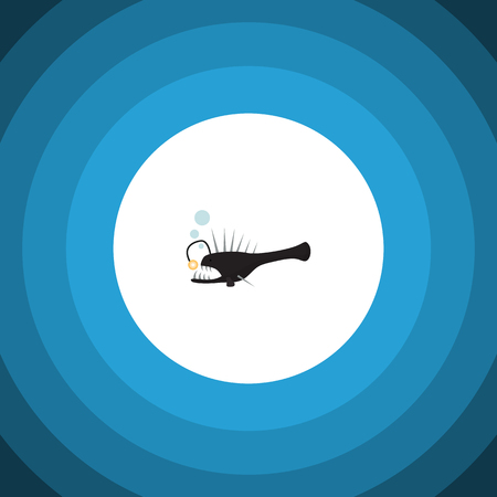 Isolated Anglerfish Flat Icon. Fish Vector Element Can Be Used For Melanocetus, Angler, Fish Design Concept. Illustration
