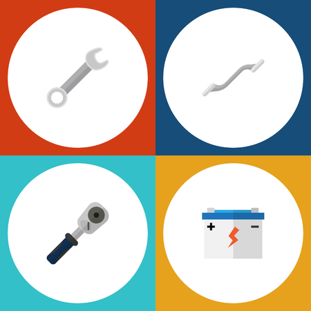 Flat Icon Service Set Of Ratchet, Accumulator, Spanner And Other Vector Objects. Also Includes Ratchet, Car, Accumulator Elements.