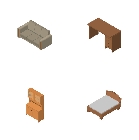 Isometric Design Set Of Couch, Bedstead, Table And Other Vector Objects. Also Includes Settee, Bed, Table Elements. Illustration