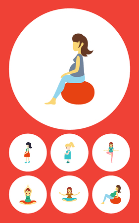 pregnancy exercise: Flat Icon Pregnant Set Of Fitness, Pose, Mother And Other Vector Objects. Also Includes Lady, Fitness, Pregnancy Elements. Illustration