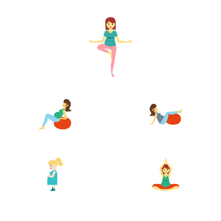 Flat Icon Pregnant Set Of Sport, Yoga and objects