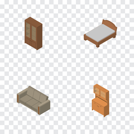 Isometric furnishing set of bedstead, cabinet and cupboard.