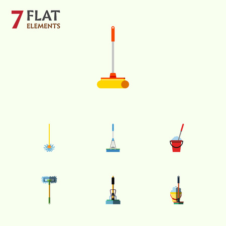 flooring: Flat Icon Mop Set Of Besom.