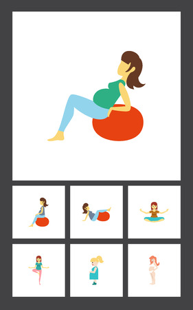 Flat icon pregnancy set of pregnancy, pregnant woman, pose and other vector objects.