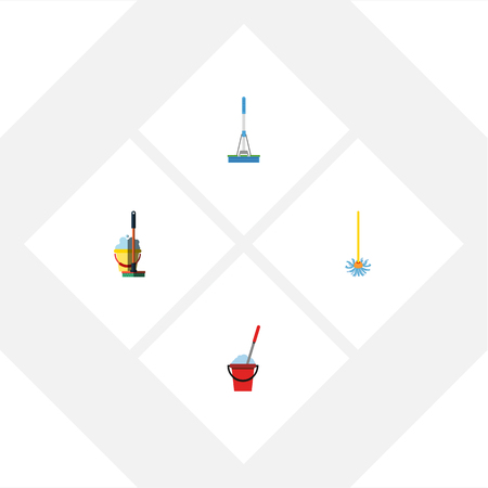 Flat icon cleaner set of cleaning, broomstick, mop.
