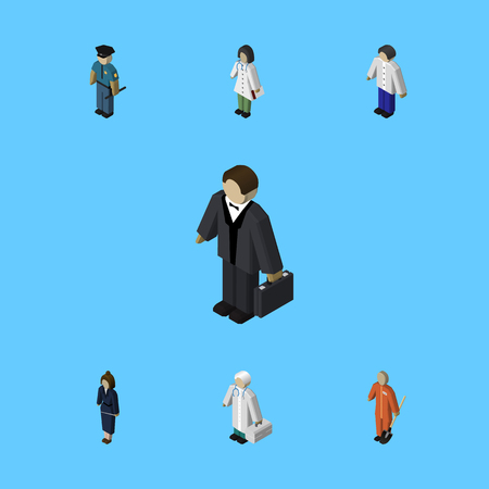 Isometric human set of businesswoman, doctor and medic.