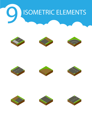 Isometric road set of bitumen, incomplete and downward.