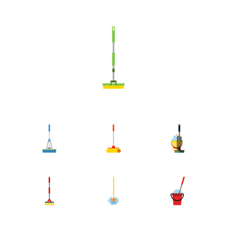 Flat Icon Cleaner Set Of Equipment, Cleaning, Bucket And Other Vector Objects. Also Includes Bucket, Broom, Cleaning Elements.