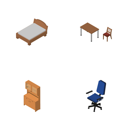 Isometric design set Of Bedstead, Office, Chair And other objects.