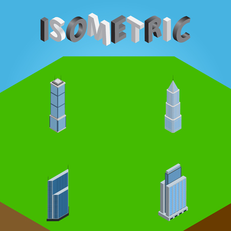 Isometric Building set of Apartment, Urban, Exterior and other objects. Illustration