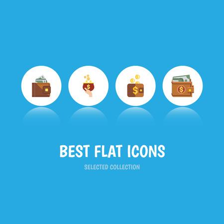 Flat icon wallet set.