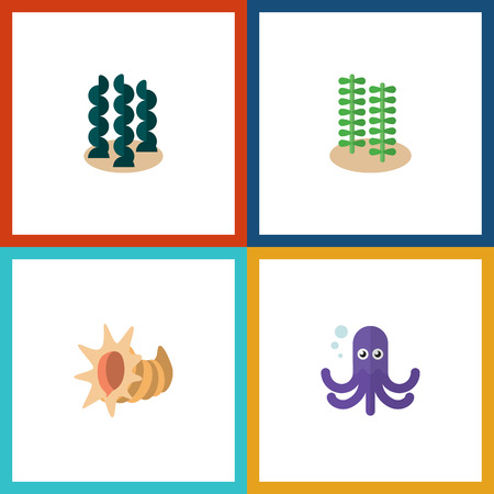 Flat Icon Sea Set Of Alga, Tentacle, Seashell And Other Vector Objects. Also Includes Squid, Octopus, Scallop Elements.