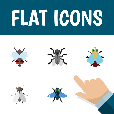 Flat Icon Housefly Set Of Tiny, Buzz, Gnat And Other Vector Objects. Also Includes Bluebottle, Fly, Tiny Elements.