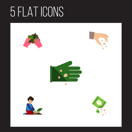 Flat Icon Sow Set Of Sow, Plant, Florist And Other Vector Objects. Also Includes Plant, Packet, Florist Elements.