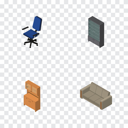 Isometric Furniture Set Of Sideboard, Cupboard, Office And Other Vector Objects. Also Includes Settee, Sideboard, Office Elements.