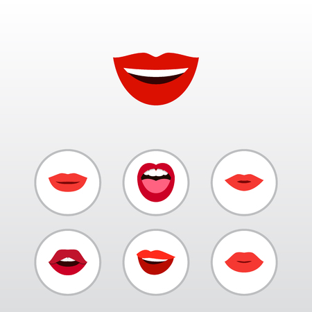 Flat Icon Mouth Set Of Lipstick, Teeth, Lips And Other Vector Objects Illustration