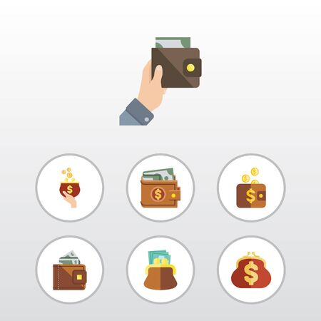 billfold: Flat Icon Billfold Set Of Payment, Money, Pouch And Other Vector Objects. Also Includes Saving, Money, Purse Elements.