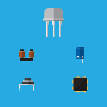 Flat Icon Device Set Of Transistor, Resist, Destination And Other Vector Objects. Also Includes Coil, Microprocessor, Fiildistor Elements.