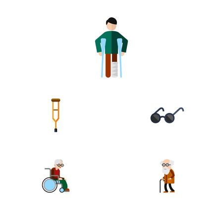 Flat Icon Disabled Set Of Stand, Spectacles, Wheelchair Vector Objects