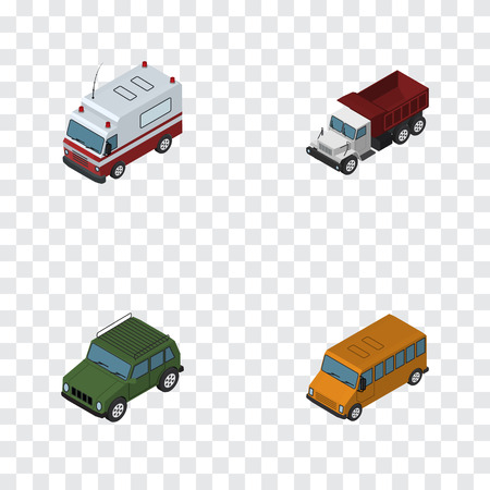 Isometric Automobile Set Of Armored, Freight, Autobus And Other Vector Objects
