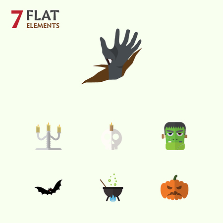Flat Icon Celebrate Set Of Superstition, Cranium, Pumpkin And Other Vector Objects. Also Includes Superstition, Candelabrum, Boiling Elements.