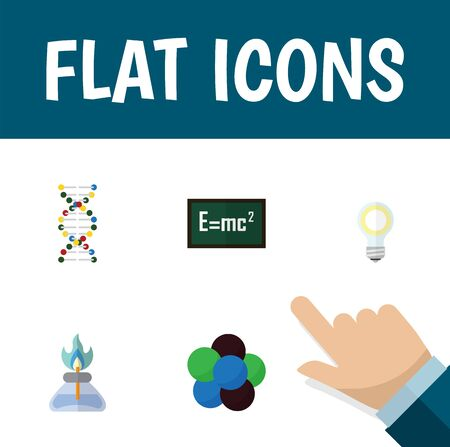Flat Icon Study Set Of Genome, Proton, Theory Of Relativity And Other Vector Objects
