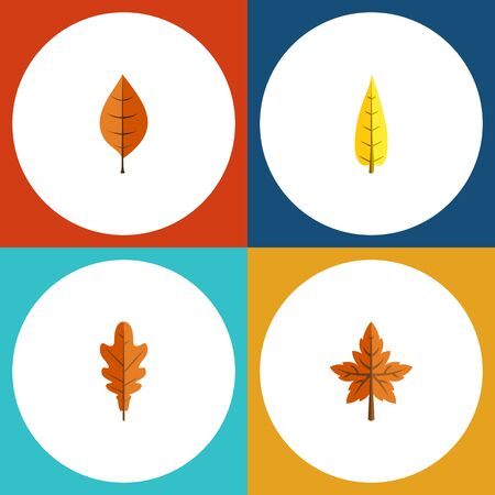 Flat Icon Foliage Set Of Alder, Foliage, Maple And Other Vector Objects. Also Includes Foliage, Linden, Alder Elements.