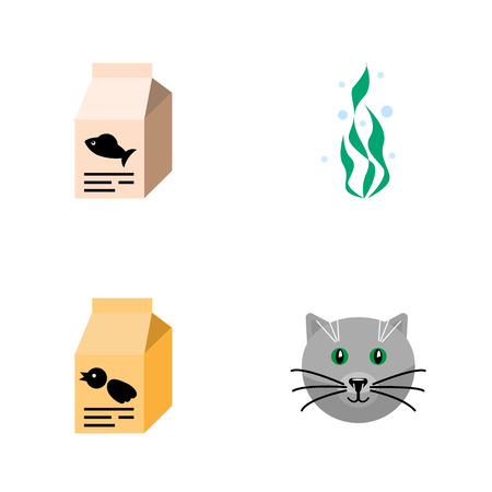 Flat Icon Pets Set Of Nutrition Box, Seaweed, Fish Nutrient And Other Vector Objects. Also Includes Pussy, Box, Cat Elements.