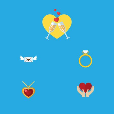 Flat Icon Heart Set Of Celebration, Save Love, Engagement And Other Vector Objects. Also Includes Necklace, Wineglasses, Heart Elements. Illustration
