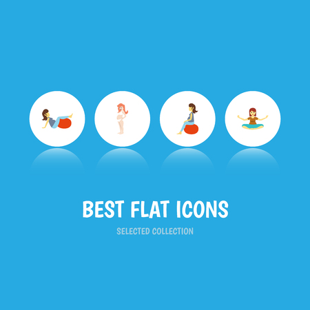 Flat Icon Pregnancy Set Of Meditation, Sport, Fitness And Other Vector Objects. Also Includes Fitness, Meditation, Sport Elements. Illustration