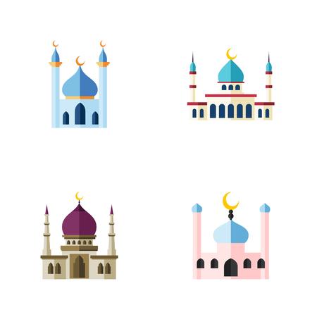 フラット アイコン構造、従来、イスラム教および他のベクトル オブジェクトを設定するモスク。構造、イスラム教徒、イスラム教の要素も含まれて