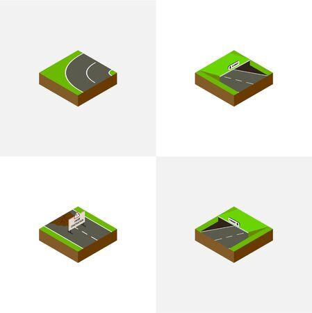 지하철, 지하 및 기타 벡터 객체의 아이소 메트릭 웨이 세트. 또한 건설, 지하철, 아스팔트 요소를 포함합니다. 일러스트