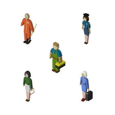 Isometric Person Set Of Policewoman, Pedagogue, Plumber And Other Vector Objects. Also Includes Policewoman, Worker, Female Elements. Illustration
