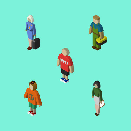 Isometric People Set Of Plumber, Pedagogue, Guy And Other Vector Objects