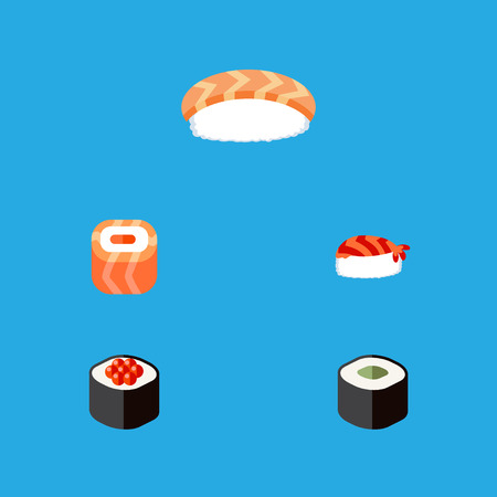 Flat Icon Sushi Set Of Seafood, Oriental, Japanese Food And Other Vector Objects